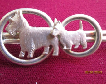 Vintage Scotty Pin And Scotty Figurine / 60s Dog Jewelry 2 Items