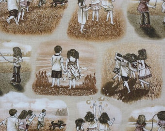 BFF Fabric, Tracy Lizotte, Elizabeth's Studio, Visions of Play, Best Friends Forever, Children Playing,  By the Yard