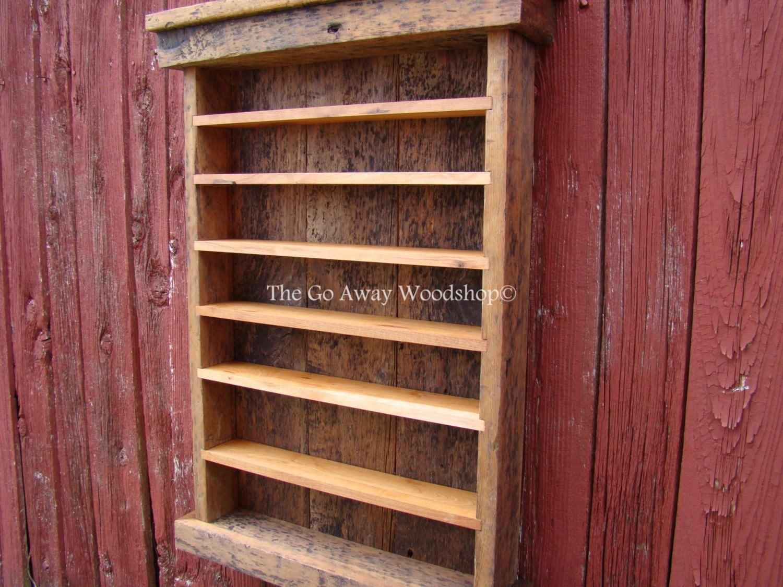 Barnwood Display Cabinet Shot Glass Rack
