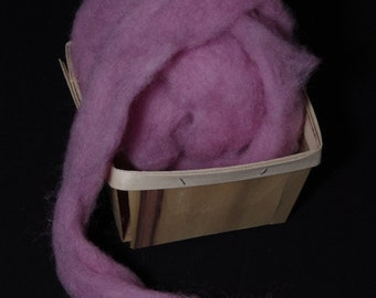 Hand-dyed wool roving for spinning,  felting or needle-felting LILAC