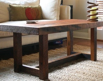 The Rustic Pi Coffee Table Made From New Orleans Barge Board and Reclaimed Wood