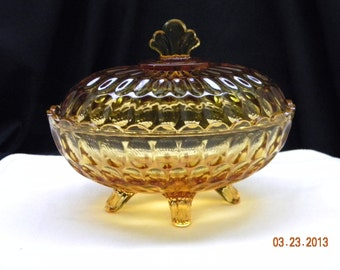 Amber Glass Candy Dish, footed