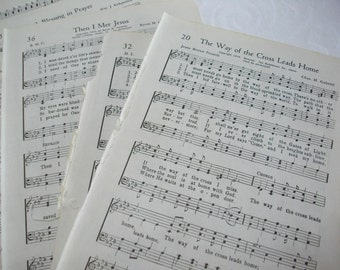 Paper Ephemera Hymnal Set,  50 Vintage Hymnal Book Pages, Scrapbooking or Art Supplies