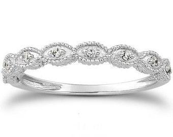 Vintage Diamond Ring 1/10CT Wedding Ring Womens Antique Style Engraved Unique Ring 14 Karat White Gold Size 4-9