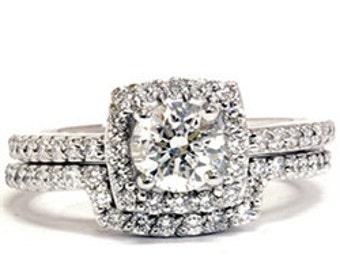 1.20CT Diamond Cushion Halo Split Shank Engagement Ring Matching Wedding Band Set 14 KT White Gold