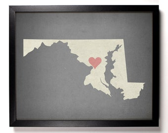 State Love Maryland, Home, Kitchen, Nursery, Bath, Dorm, Office Decor, Wedding Gift, Housewarming Gift, Unique Holiday Gift, Wall Poster