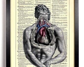 Open Heart Anatomy, Home, Kitchen, Nursery, Bath, Office Decor, Wedding Gift, Eco Friendly Book Art, Vintage Dictionary Print 8 x 10 in.