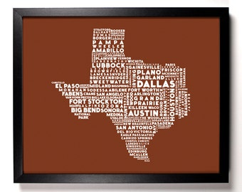 Cities Of Texas State, Home, Kitchen, Nursery, Bath, Dorm, Office Decor, Wedding Gift, Housewarming Gift, Unique Holiday Gift, Wall Poster