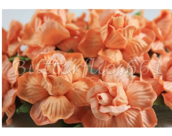 10 Handmade Mulberry Paper Flowers Peach  Large Wedding Roses 40-50