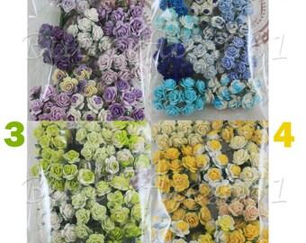 100 Mini Handmade Mulberry Paper Flowers Wedding Roses