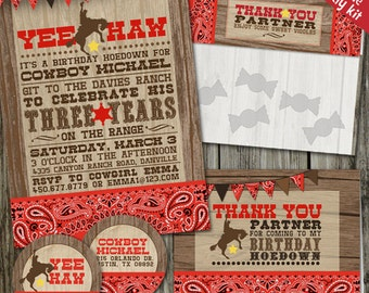 Yee Haw Cowboy Western Birthday PRINTABLE Party Kit, Cowboy Birthday Party Decorations, Country Western Party Kit, Rodeo Party Decorations