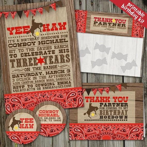 Western Decor For Birthday: Yee Haw Cowboy Western Birthday PRINTABLE Party Kit