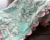 Pink and Aqua Mar Bella Dynasty Minky Swirl with Ric Rac