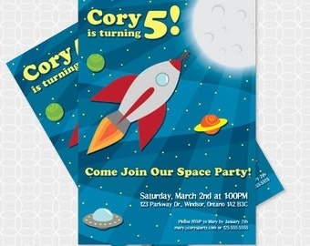 Space Party Invitation, Printable file, Personalized, rocket ship