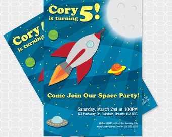Party Printable  Rocket Ship Party Invitation - Personalized Printable - space, outerspace, spaceship, planets, stars, sky