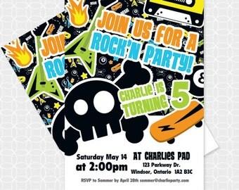 Rock Party Invitation, Printable file, Personalized, retro
