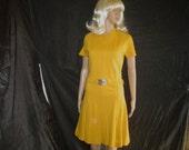 60s L BSS Knit Scooter Mod DRESS Mustard Yellow