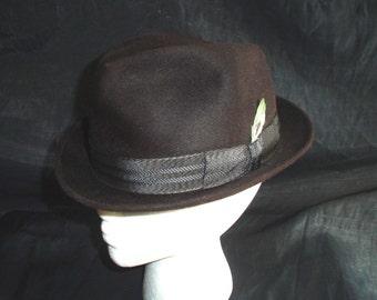 50s 7 1/8 Adam Royal Felt Stingy Brim Trilby HAT Dark Brown