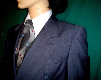 80s 40R Cricketeer Suit Pinstripe Double Breasted Men's Dark Blue