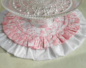 Pink and White Floral Baby Shower Table Runner/ Cake Stand Mat/  Birthday Cake/ Cup Cake Table Cloth/  Reversible Table Round/ Table Runner