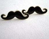 black and gold mustache earrings