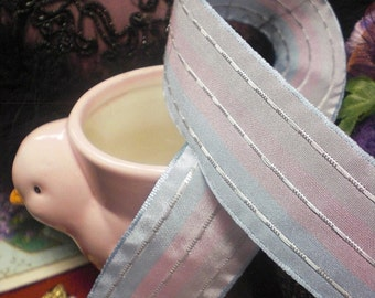 Pink And Blue And Gray Striped Ribbon Three Yards