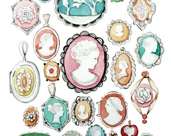 Cameo Collection Pastels Watercolor - Print