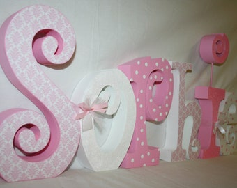 Decorative Girl nursery letters Wood letters 6 letter set Personalized Pink and white damask Name letters Wood wall letters Nursery sign