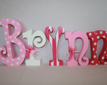 Wood letters, Baby name letters, Nursery decor for girl, 5 wood letters, Nursery name sign, Wooden letters for nursery, Nursery letters