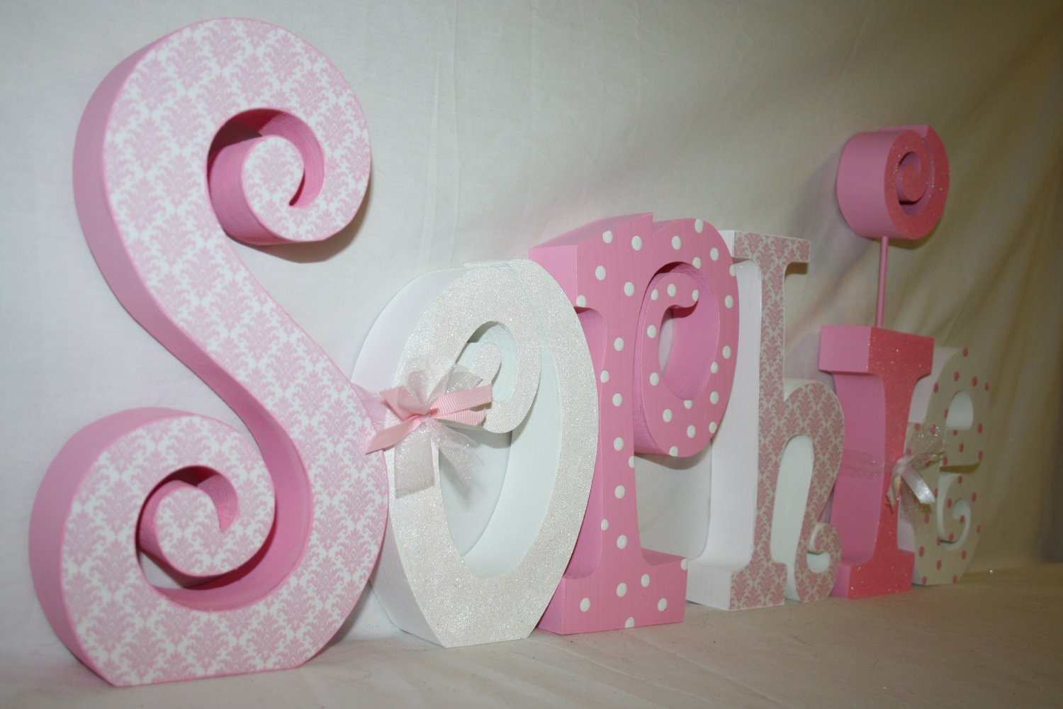 Decorative Girl nursery letters Wood letters by WoodenWondersShop