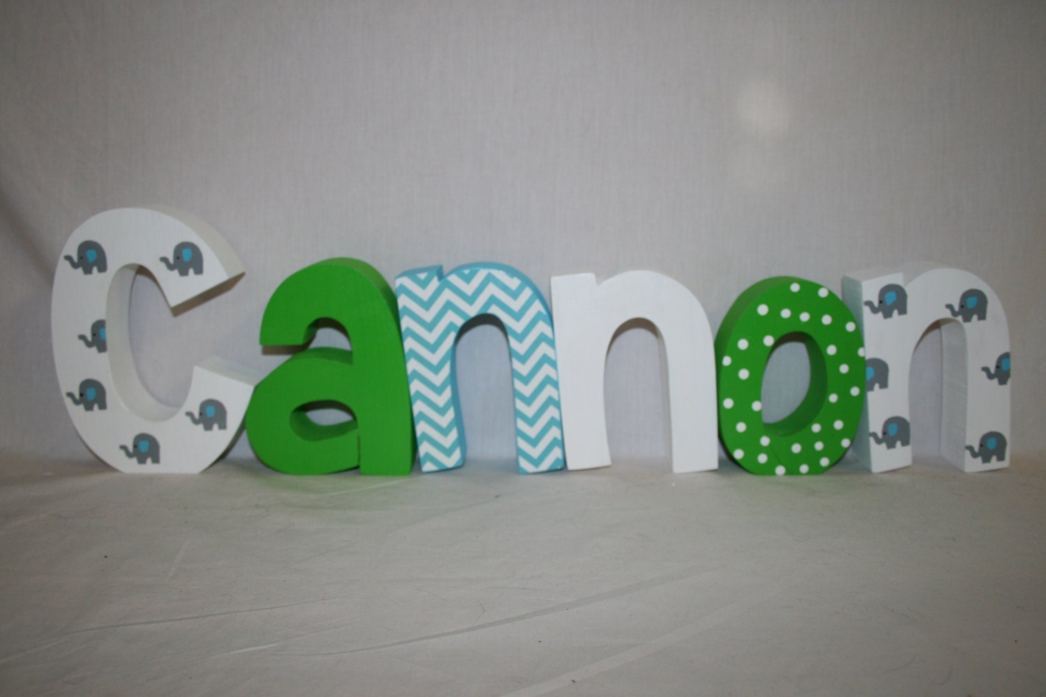 Wood letters 6 letter set elephant decor wood name letters for Baby room decoration letters