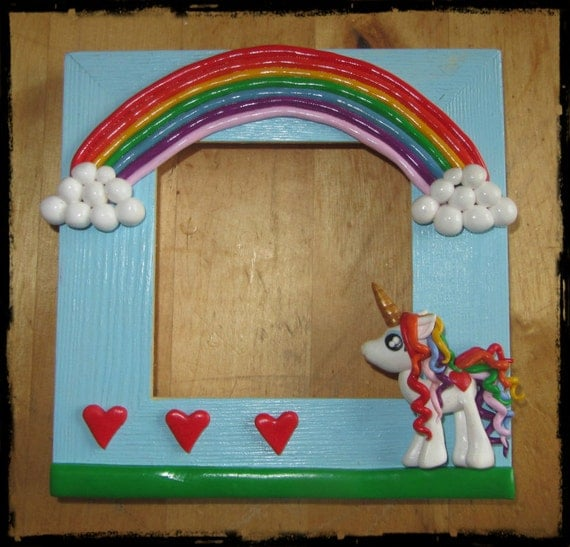 Items Similar To Rainbow Unicorn And Red Hearts Picture