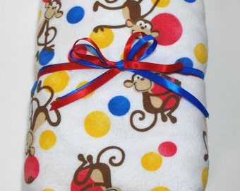 Monkey Flannel Sheet for Toddlers or Babies Fitted Flannel Crib Sheet