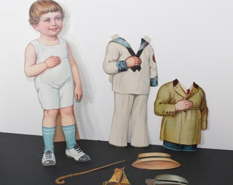 Vintage Boy Paper Doll with Two Outfits