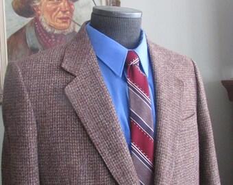 Vintage Mens Harris Tweed Jacket, Mens Harris Tweed Blazer, Harris Tweed Brown Coat, 1980's Tweed Jacket  Size 40 Regular Color See Pics