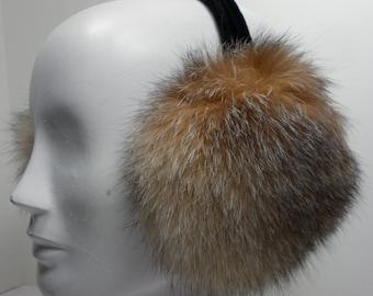 Crystal Fox Fur Earmuffs new made in usa