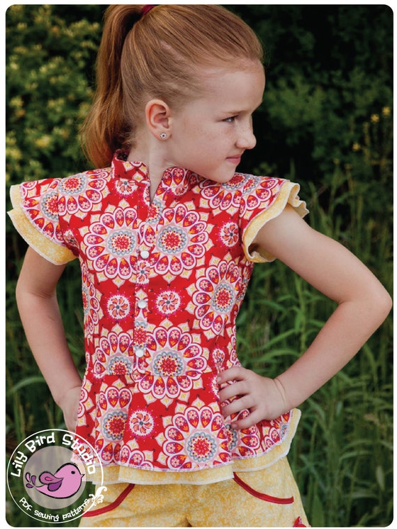 Lily Bird Studio PDF sewing pattern Amy's peplum top / blouse -  12 mths to 10 yrs - overskirt, mandarin style collar, ruffle sleeves