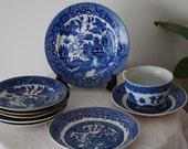 Vintage Blue and White Plate collection of an Asian scene