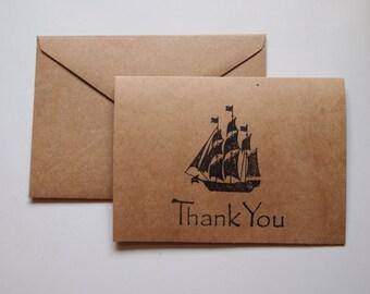 Nautical Stationary // Whale Weathervane / Ship / Tag // Handmade // Thank You Card // Natural