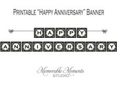 INSTANT DOWNLOAD Printable Happy Anniversary Banner - Black and White Damask Design - Memorable Moments Studio