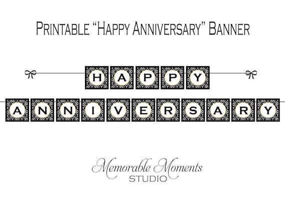 Anniversary Banner Printable Anniversary Banner Black