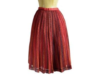 50s Ilene Ricky Pin Pleated Chiffon Circle Skirt