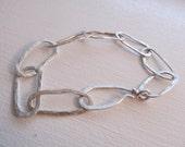 silver chain bracelet, artisan hammered sterling silver big link chain bracelet, large link artisan hand fabricated metalsmith bracelet
