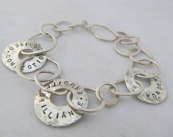 Personalized bracelet,hand stamped,custom big link sterling silver metalsmith jewelry,mom,mothers,grandmothers,names,words,inspiration,quote