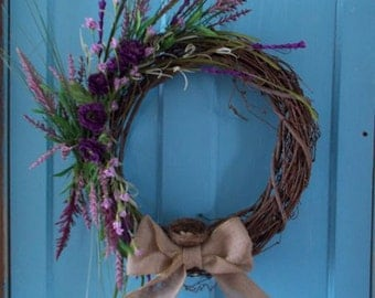 Grapevine Purple Floral Wreath With Birds Nest & Burlap Bow