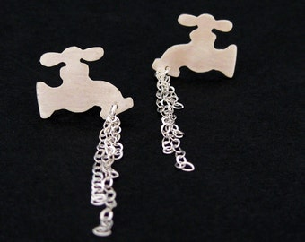 Leaky Faucet Earrings - Silver Water Tap Studs - Weird Earrings - Funny Quirky Earrings - Plumber Gift