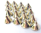 30 Medium Bright Gold Spike Beads - 9mm - Great For Studding Clothes and Shoes