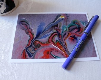 """Abstract Art Note Card, Blank Inside, """"Streams of Color no. 1"""""""