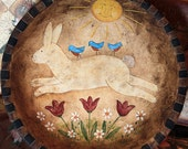 Easter Folk Art Painting, Spring Folk Art, Primitive Wood Bowl, MADE TO ORDER, Country Bunny, Bluebirds, Tulips, Sun