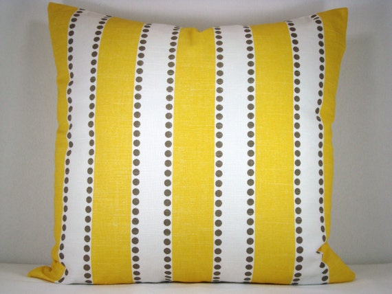 Decorative Yellow and White Stripe Modern Accent Toss Pillows
